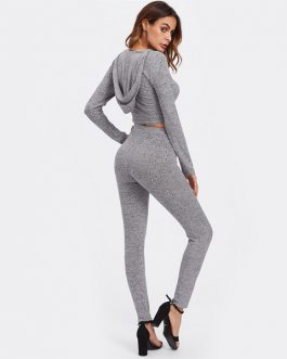 Long Sleeve Rib Knit Marled Hoodie Sexy Crop Tee and Leggings Set