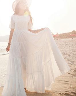 Maxi Dress Short Sleeves Chiffon Dress Long Beach Dress