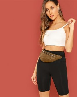 Casual Solid Crop Wide Waistband Cycling Short Leggings