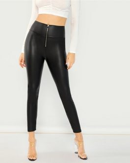 Modern Lady Casual Exposed Zip Front Skinny Solid Leggings