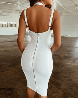 New Bodycon Bandage Women Sexy Spaghetti Strap Club Vestido Evening Party Dress