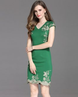New Women lace Embroidery Pencil Dress Vestidos party dress