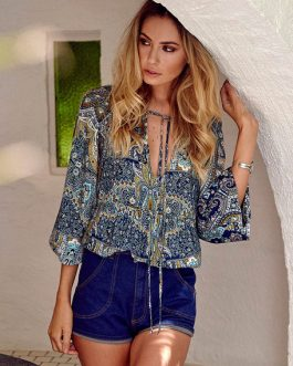 Plus Size Blouse Balloon Sleeve Printed Lace Up Bohemian Loose Top