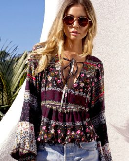 Plus Size Blouse Bohemian Balloon Sleeve Loose Top For Women