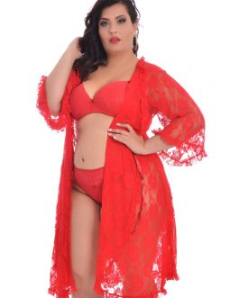 Plus Size Lace Women's Long Cover Up