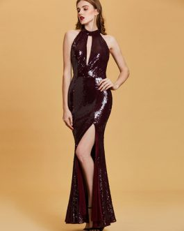 Prom Evening Gown Halter High Cut Out Formal Dress