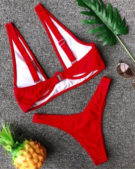 Push Up Padded Bikini Set Triangle Solid Bathing Suit Swimwear