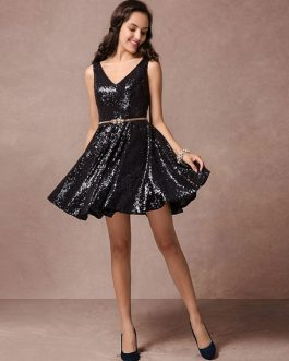 Sequin Cocktail V-neck Backless Short Prom Dress With Belt