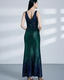 Sequin Evening Long Prom Sexy Split Floor Length Formal Gowns