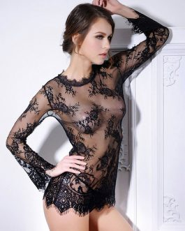 Sexy Black Sheer Chemise Blace Lace Nightdress