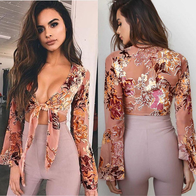 Sexy Crop Top Long Sleeve Plunging Neck Knotted Chiffon Floral Top1 1