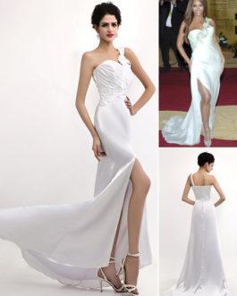 Sexy Elastic Woven Satin One Shoulder Gossip Girl Fashion Dress