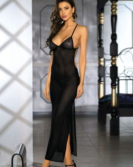 Sexy Gown Split Straps Slip Dresses With Panties For Women