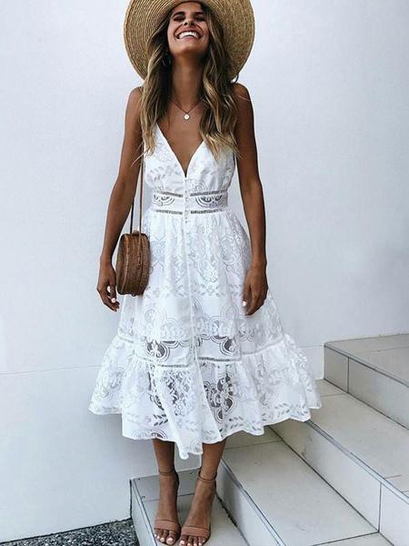 Sexy Long Dress Lace V Neck Straps Slip Dress