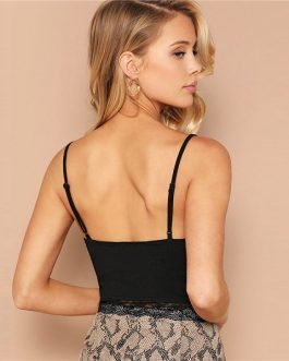 Sexy Ruched Front Lace Crop Cami Ladies Tops