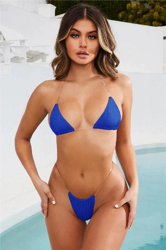 Sexy Women Micro Bikini Transparent Strap Swimsuit Power Day Sale