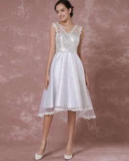 Short High -low Organza Applique Detachable Illusion Homecoming Prom Dress