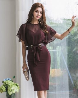 Solid Bodycon Sexy Fashion Chiffon Party Dress Ladies Casual Dress