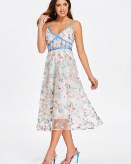 Spaghetti Strap Embroidered Midi Dress
