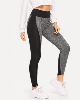 Sporting Casual Wide Waist Color Block Leggings