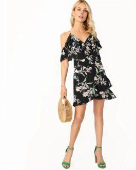 Surplice Cold Shoulder Ruffle Floral Mini Elegant Dress