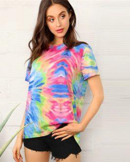 Tie Dye Short Sleeve Casual Women T Shirt