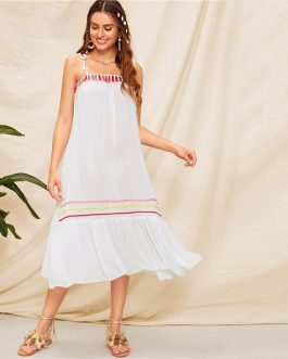 Boho Solid Sleeveless Drop Waist Loose Long Dress