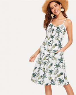 Boho Single Breasted Pocket Tropical Print Midi Dress
