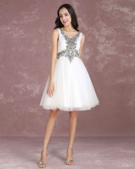 Tulle Lace Applique Beading Homecoming Knee Length Cocktail Prom Dress