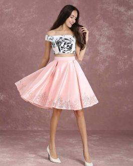 Two Piece Homecoming Printed Prom Crop Top Knee Length Party Dress