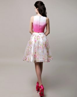 Two Piece Prom Short Crop Top Floral Print Organza Party Dress