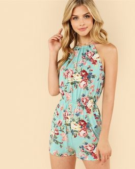 Vacation Bohemian Beach Floral Print High Waist Jumpsuit