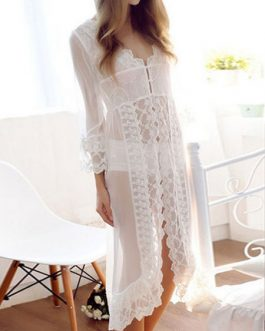 White Chemise Lace Semi-Sheer Embroidered Dress