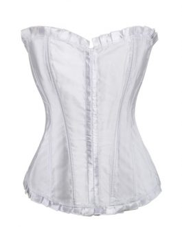 White Lace Up Corsets Ruffles Women's Bustier