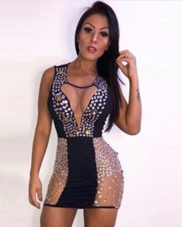 Women Bandage Sexy Vestidos Lace Tank Club Dress