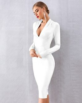 Women Bandage Vestidos Sexy Deep V Bodycon Club Midi Evening Party Dress