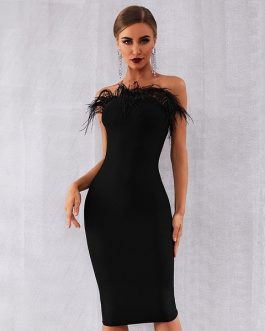 Sexy Black Feathers Sleeveless Strapless Bodycon Club Party Dress Inspired By kendall jenner at REVOLVEawards