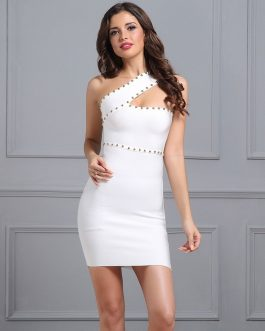 Women Bandage Vestidos Sexy Mini Dress One Shoulder Bodycon Dress