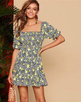 Women Beach Puff Sleeve Shirred Waist A Line Dress