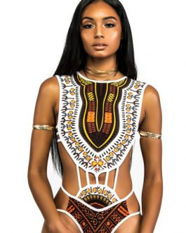 Women Bodysuit Sleeveless Cut Out Ethnic Print Top