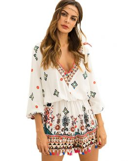 Women Boho Romper Plunging Tassels Buttons Printed Casual Playsuit