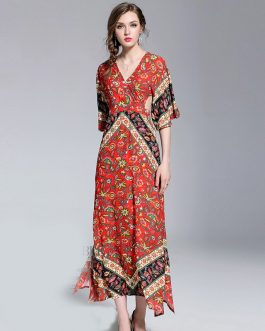 Women Boho print Backless Maxi Dress Flare Sleeve Party Holiday Beach Dress