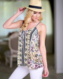 Women Chiffon Camis Straps Printed Sleeveless Top