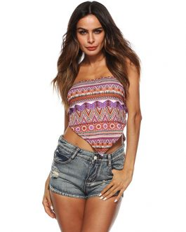 Women Crop Top Strapless Printed Triangle Boho Top