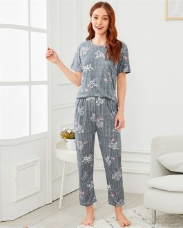 Women Flamingo Leaf Print Pajama Set Striped Short Sleeve Nightwear