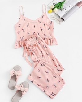 Women Flamingo Print Cami Crop Top and Drawstring Pants Sleepwear Pajamas Sets