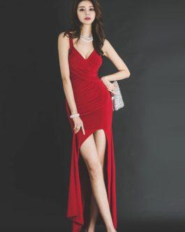 126db17283 Women Floor-Length sxey femme Asymmetrical long party dress ...