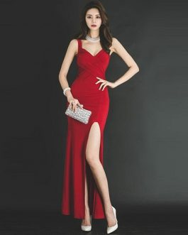 Women Floor-Length sxey femme Asymmetrical long party dress