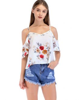 Women Floral Camis Half Sleeve Straps Cold Shoulder Chiffon Top