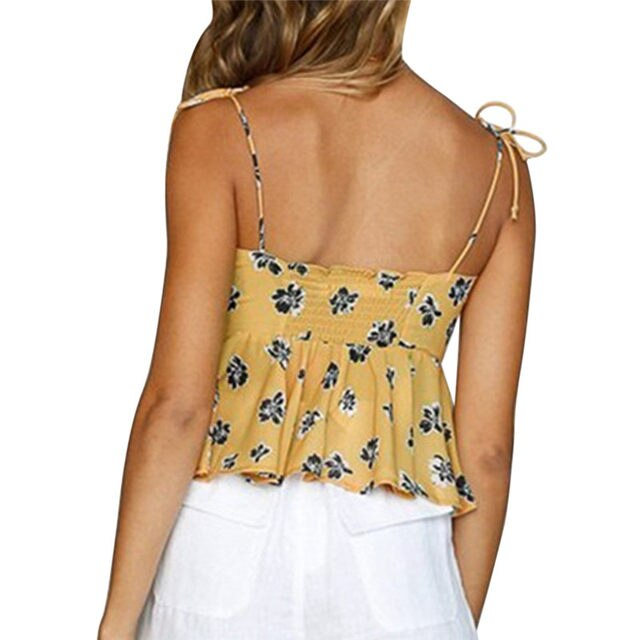 Women Floral Camis Straps Knotted Stretch Top4 1